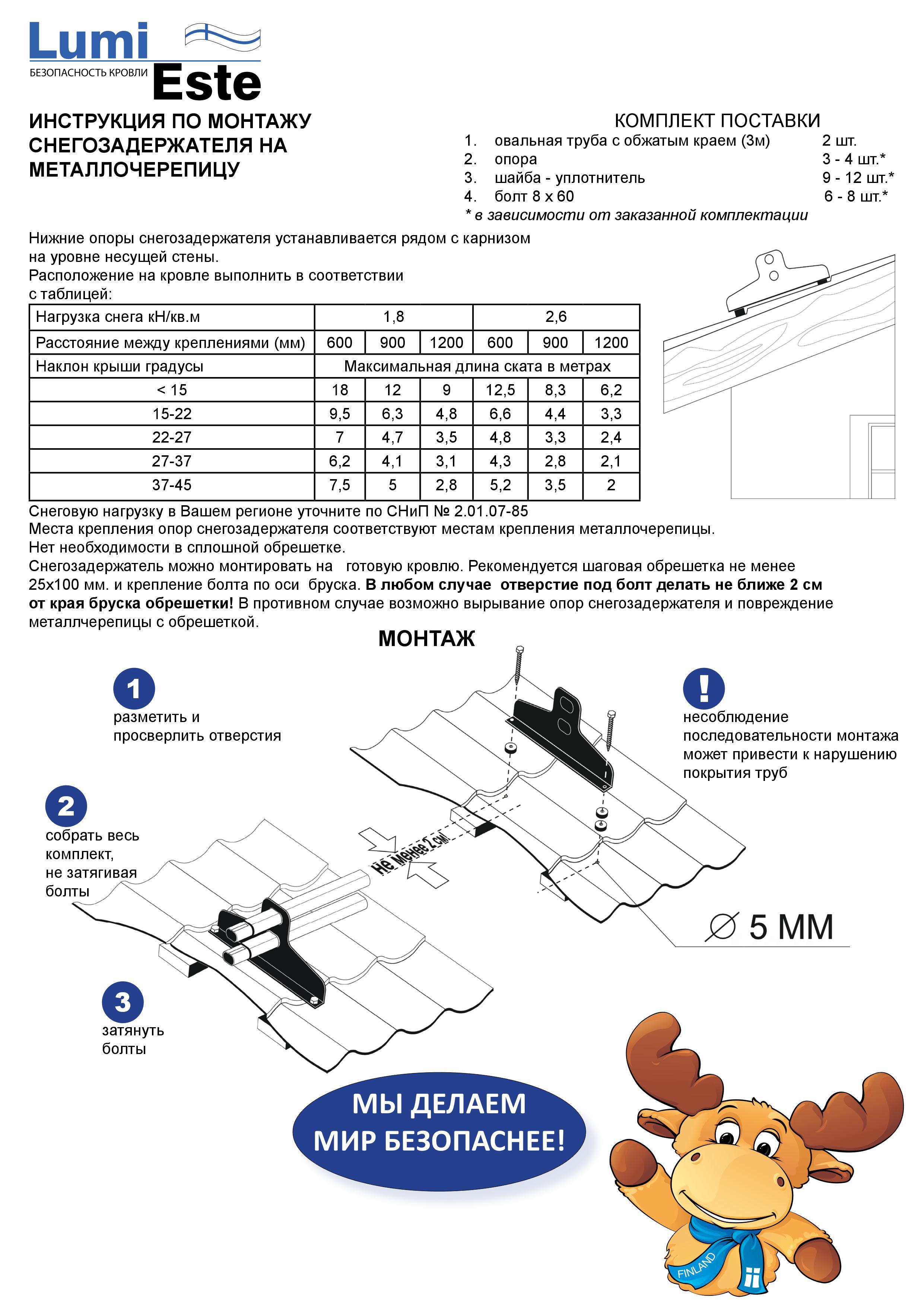 монтаж снегозадержателей на профнастил инструкция